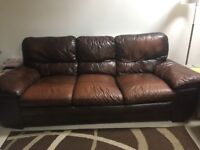 Dark brown antique leather sofas. A 3 seater and 2 seater in good condition. Pet/Smoke free home!