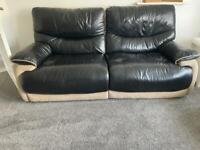 x2 Black Leather Sofa (Electric Recliners) 3 Seaters