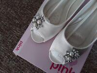 Ivory satin peep toe shoes. Size 39