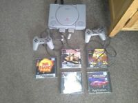 Ps1 playstation 1 with 2 controllers & 5 games