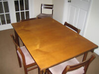 Vintage 60's White and Newton teak dining table and six chairs