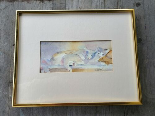 Signed and Framed Pastel Watercolor of Two Cats Sleeping
