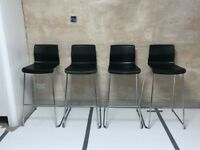 4 Ikea BLACK BAR STOOLS