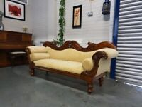 Beautiful Victorian Mahogany Double Ended Settee + Free Delivery