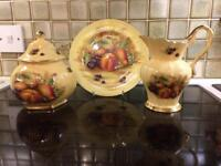 AYNSLEY 'ORCHARD GOLD' FINE BONE CHINA - 3 PIECES - JUG, PLATE & VASE/URN WITH LID