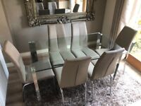 Modern dining table and 6 leather chairs