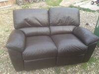 SOFA SETTEE CHAIR, DARK BROWN LEATHER DOUBLE RECLINER IN GOOD CONDITION, CAN DELIVER TO NORWICH