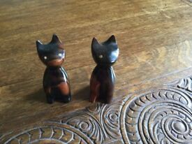 Two Contemporary Wooden Models of Cats