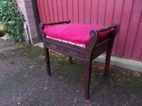 Vintage Edwardian Mahogany Box Seat PIANO STOOL
