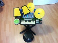 Childrens free standing Keyboard, drum, music system with stool and drum sticks