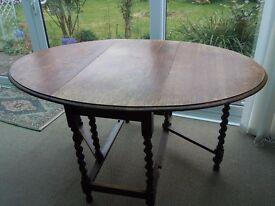 VINTAGE OVAL OAK DINING TABLE, BARLEY TWIST LEGS/DROP LEAF