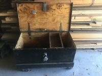Wooden toolchest on wheels