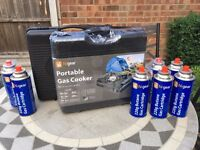2 x Portable Gas Cookers, gas canisters and whistling kettle