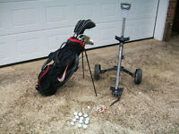 MENS GOLF PACKAGE - SUPER MATCHED SET OF MAXFLI WOODS AND IRONS +NIKE BAG+MASTERS LITE TROLLEY+PING