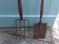 Vintage garden spade & shovel set
