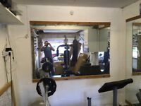 Full wall mirror ideal for gym room