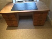 Pine desk with drawers . Leather top and drawers