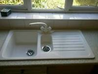 AS NEW ASTRACAST BOWL+HALF SINK/TAPS+WASTE KIT/WHITE £69.99