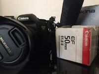 Canon EOS 7D with 50mm 1.8 lens Rode mic and camera battery charger