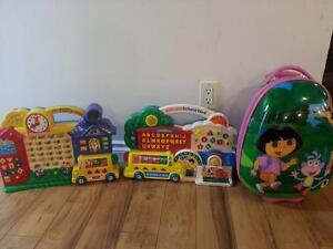 dora suitcase, vtech school house