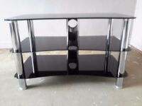 Black glass and chrome tv stand,