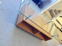 Stylish Quality Glass Top Wooden Base With Castor Wheels Coffee Table Bargain