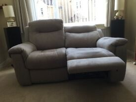 Two seater sofa reclining and matching recliner chair
