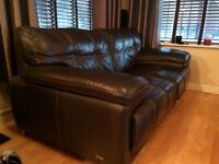 Brown leather 2 seater sofa and 1 chair and 1 swivel chair