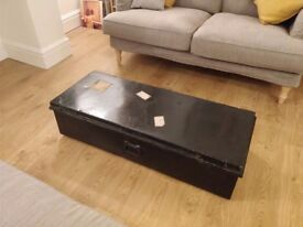 Very Large Vintage Metal Industrial Trunk – Great for Storage or as Coffee Table