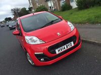 2014 PEUGEOT 107 ALLURE RED IMMACULATE CONDITION TAX FREE!! 60 MPG!!