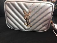 Women's YSL Handbag Shoulder Bag Silver Gold