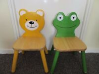 John Lewis wooden childs chairs Frog and Teddy Bear