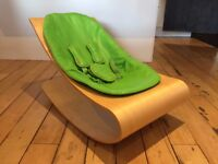 bloom Coco Stylewood Baby Lounger, Natural with Green