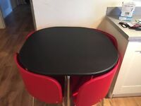Hygena space saver dining table and 4 chairs
