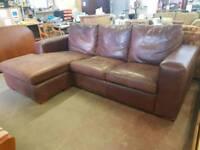 Large brown leather left side corner suite