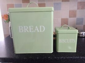 Retro bread bin and biscuit tin