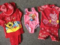 Frozen swimming costume/bather, Little Miss M&S outfit and Peppa Pig Next UV swimsuits