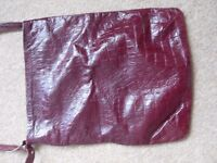 wine red womans leather tote bag