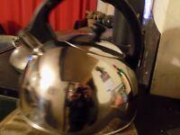 whistling kettle 4 pints. chrome spotless