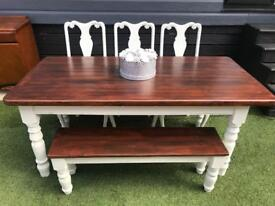 Farmhouse dining table with bench & 3 crushed velvet chairs