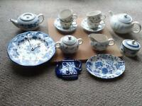 various blue crockery