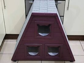 Solid wood Outdoor waterproof-bitumen roof Cat play house kennel cat run-3 sleeping dens not shed