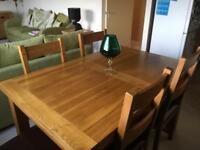 Oak Furniture Land Oak Extendable Dining Room Table and 6 chairs. RRP £850