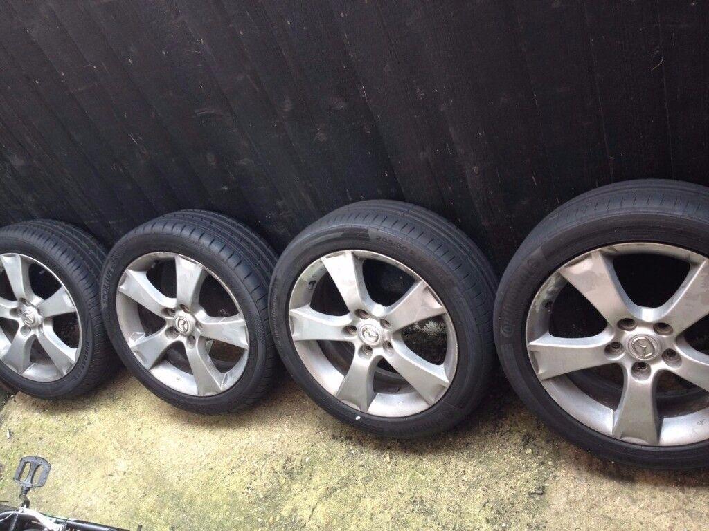 "Original Mazda 3 17"" Alloy Wheels with Good tyres"
