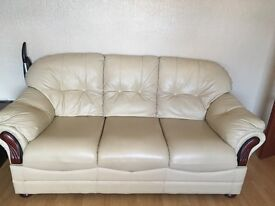 Like New Cream Leather Sofa Suite (3 & 2 Seater)