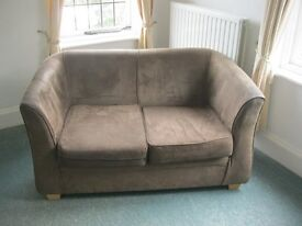 QUALITY BROWN SUEDE 2 SEATER SOFA. (2 AVAILABLE, SOLD INDIVIDUALLY).VIEWING/DELIVERY AVAILABLE
