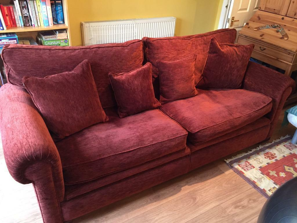 Good Quality Fabric Romsey Grand Sofa From John Lewis In Deep Red Wine Colour