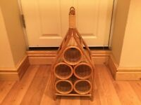 Vintage, retro wicker wine rack