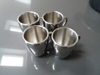 Set of 4 double insulated metal mugs