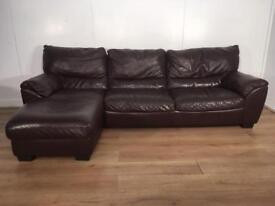 Natuzzi Brown real leather corner sofa with free delivery within 10 miles